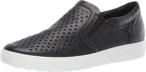 ECCO womens Soft 7 Laser Cut Slip-on Sneaker, Black, 8-8.5 US