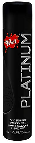 Wet Platinum Silicone Based Sex Lube 4.2 Ounce Premium Personal Luxury Lubricant, Longest Lasting for Condom Safe Vegan Ph-Balanced Hypoallergenic Glycerin & Paraben Free Intimacy Water-Based Upgrade