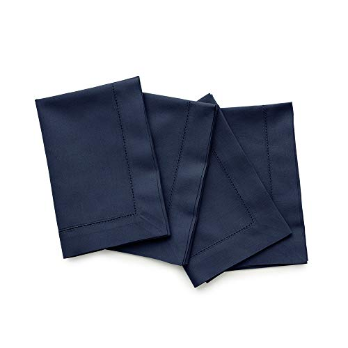 Solino Home Hemstitch Cotton Linen Dinner Napkins – Set of 4, 20 x 20 Inch Navy Natural Fabric – Machine Washable Handcrafted with Mitered Corners