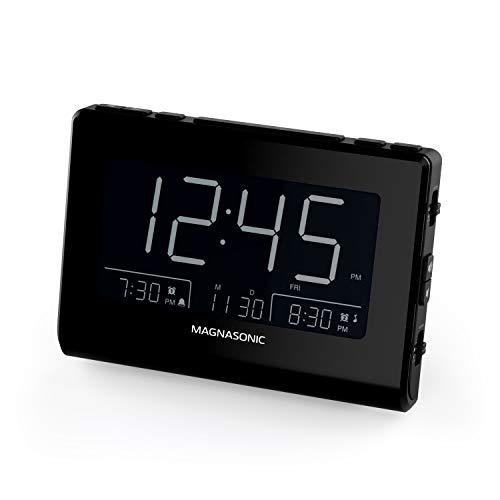 Magnasonic Alarm Clock Radio with USB Charging for Smartphones & Tablets, Auto Dimming, Dual Gradual Wake Alarm, Battery Backup, Auto Time Set, Large 4.8' LED Display, FM (CR63)