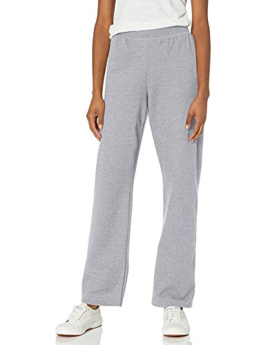 Hanes Women's ComfortSoft EcoSmart Women's Regular Open Bottom Leg Sweatpants Light Steel, Small