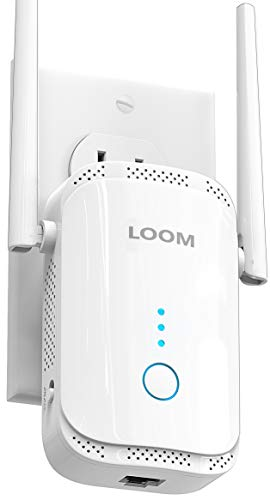 loom WiFi Extender Signal Booster up to 2640sq.ft- newest generation, 2021 release Wireless Internet Repeater, Long Range Amplifier with Ethernet Port, Access Point, 1-Tap Setup, Alexa Compatible N300