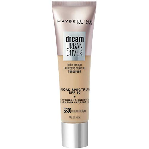 Maybelline Dream Urban Cover Flawless Coverage Foundation Makeup, SPF 50, Natural Beige