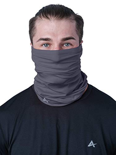 Arctic Cool Instant Cooling UPF 50+ UV Protection Neck Gaiter, Face Mask, Headband   12-in-1 Excellent Sun Protection for Fishing, Boating, Face Protection, Gardening, Working, Storm Grey