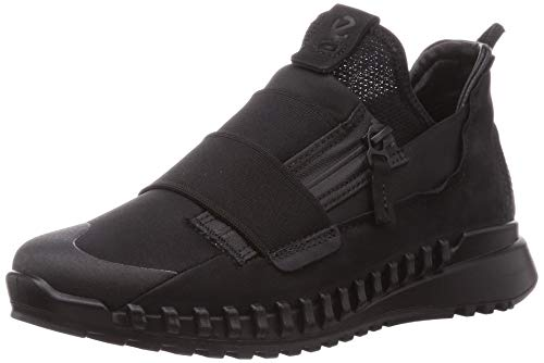 ECCO womens Zipflex Slip on Sneaker, Black/Black Nubuck, 4-4.5 US