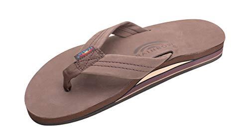 Rainbow Sandals Men's Premier Leather Double Layer with Arch Wide Strap, Expresso, Men's X-Large / 11-12 D(M) US