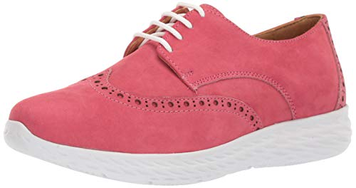 Driver Club USA Womens Leather Raleigh Extralight Wingtip Sneaker Loafer, Pink Nubuck, 8.5 M US