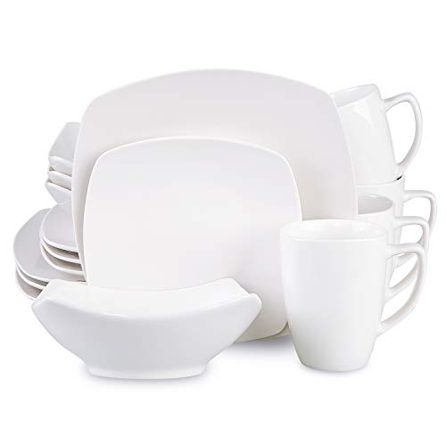 Cutiset 16-Piece Porcelain Square Dinnerware Set, Kitchen Dinner Set with Dinner Plates, Dessert Plates, Soup Bowls, Mugs, Service for 4