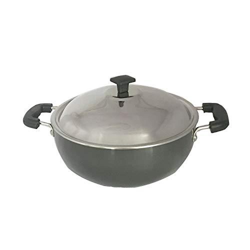 Aluminium Kadhai Hard Anodised with Stainless Steel Lid All Purpose Pan Round Bottom Deep Fry Pan/Kadai Stir Fry Pan Multipurpose Pan