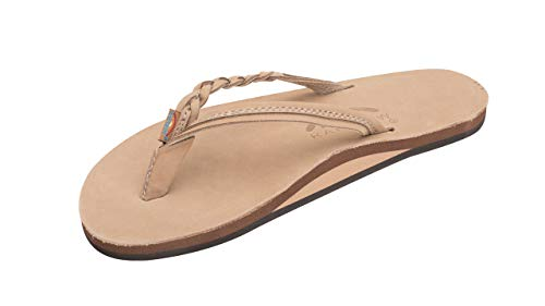 Rainbow Sandals Women's Flirty Braidy Premier Leather w/Single Braided Strap, Sierra Brown, Ladies Medium / 6.5-7.5 B(M) US