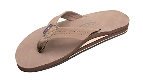 Rainbow Sandals Men's Premier Leather Double Layer with Arch Wide Strap, Dark Brown, Men's X-Large / 11-12 D(M) US