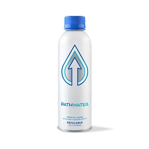PATHWATER, PATH Purified and pH Balanced Bottled Drinking Water in EcoFriendly BPAFree Bottle Lightweight Aluminium Reusable Packaged Bottled Water Still 20.3 Fl Oz, 20.3 Fl Oz