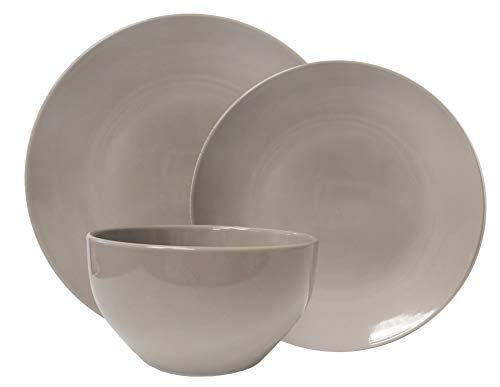 Tabletops Gallery Color Fashion Dinnerware Collection- Stoneware Dishes Service for 4 Dinner Salad Appitizer Dessert Plate Bowls, 12 Piece Grey Dinnerware Set