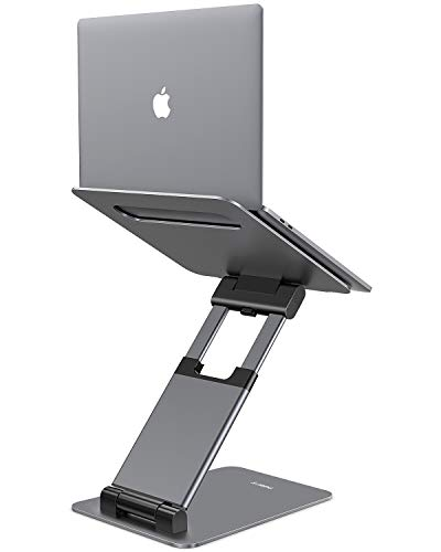 Nulaxy Laptop Stand, Ergonomic Sit to Stand Laptop Holder Convertor, Adjustable Height from 2.1' to 13.8', Supports up to 22lbs, Compatible with MacBook, All Laptops Tablets 10-17' - Space Grey