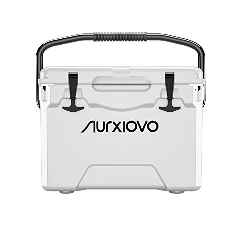 Nurxiovo 25QT Cooler Portable Ice Chest Camping Coolers Keeps Ice up to 7 Days Ideal for Hiking, Picnic, BBQs, Fishing, Traveling, Tailgating Outdoor Activities, Polyethylene, Milk White