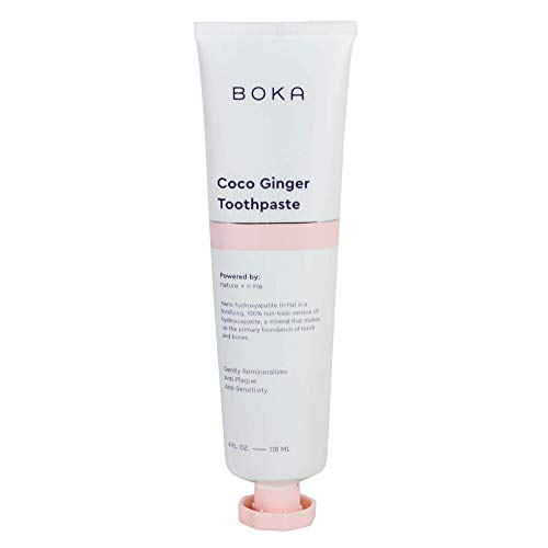 Boka Coco Ginger Toothpaste - Nano-Hydroxyapatite for Remineralizing and Sensitivity, Fluoride-Free I Dentist Recommended, Made in USA I 4oz
