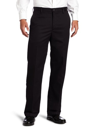 IZOD Men's American Chino Flat Front Straight Fit Pant, Black, 32W x 32L