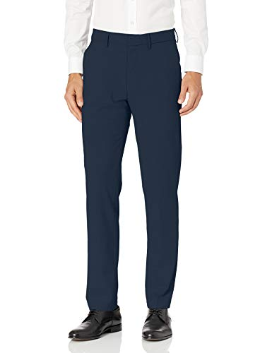 Haggar Men's J.M. Stretch Superflex Waist Slim Fit Flat Front Dress Pant, Blue, 36Wx30L