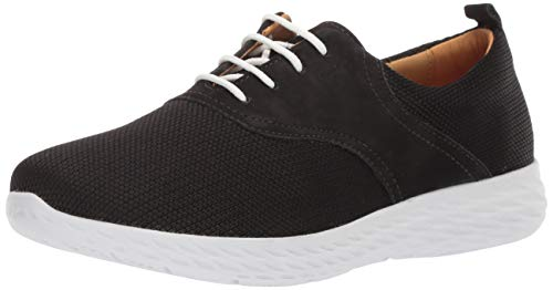 Driver Club USA Womens Leather Greenville Extralight Sneaker Loafer, Black Nubuck/Fabric, 5 M US