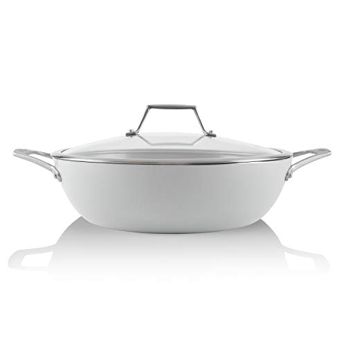 TECHEF - CeraTerra, 5 Qt / 12-in Ceramic Nonstick All Purpose Chef Pan with Cover, (PTFE and PFOA Free Ceramic Exterior & Interior), Oven & Dishwasher Safe, Made in Korea, Grey/Silver (5 Qt Chef Pan)