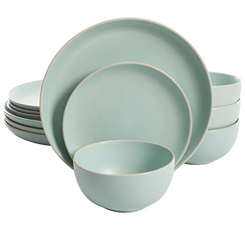 Gibson Home Rockaway 12 Piece Dinnerware, Teal Matte -