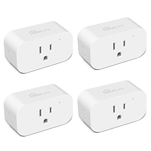 Smart Plug 4 Pack, Treatlife 7 Day Heavy Duty Programmable Timer, 1800W 15A WiFi Smart Home Outlet Timer, Child Lock, Away Mode, Compatible with Alexa, Google Assistant