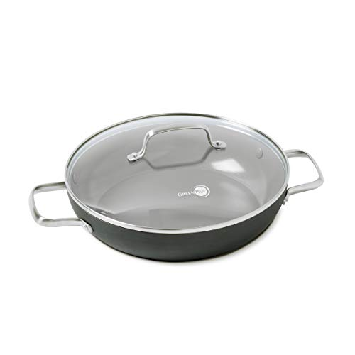 GreenPan Chatham 11' ceramic Non-Stick Covered Everyday Pan with 2 Helpers, Grey -