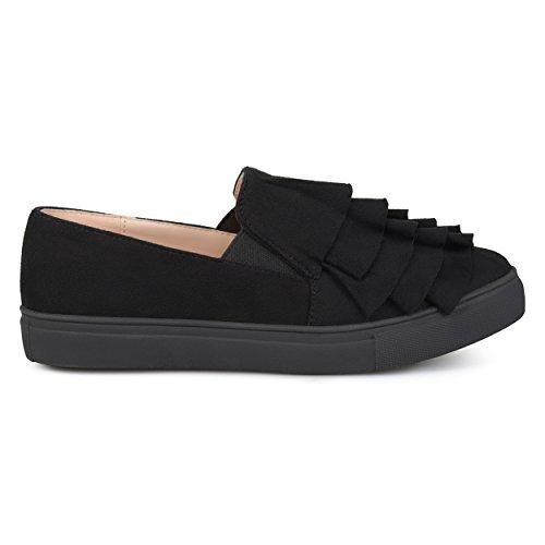 Brinley Co. Womens Faux Suede Slip-on Ruffle Sneakers Black, 8 Regular US