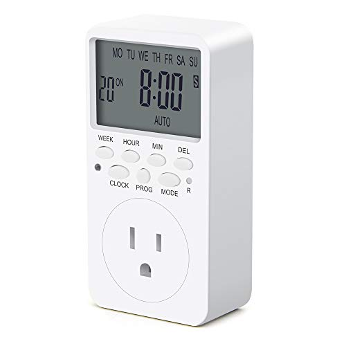 Outlet Timer, 7 Day Wall Plug in Light Timer Outlet, CANAGROW Indoor Digital Programmable Timers for Electrical Outlets, 3-Prong Outlet for Appliances, 15A/1800W