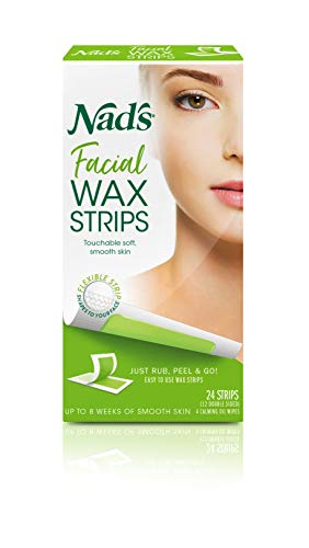 Nad's Facial Wax Strips (Pack of 2) - Hypoallergenic All Skin Types - Facial Hair Removal For Women - At Home Waxing Kit with 24 Face Wax Strips + 4 Calming Oil Wipes