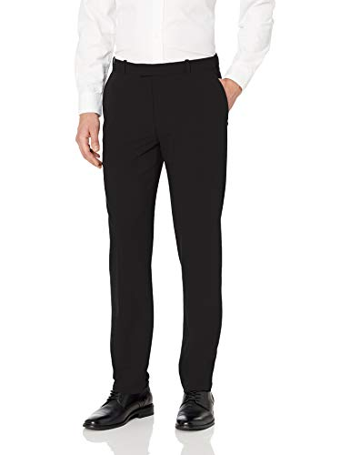 Van Heusen Men's Flex Straight Fit Flat Front Pant, Black, 32W x 32L