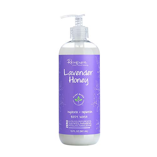 Renpure Plant Based Lavender Body Wash – Natural Lavender, Manuka Honey & Coconut Oil for Body – Sulfate Free, Moisturizing Shower Gel Body Soap & Sensitive Skin Body Wash with Pump for Women, 19 Oz.
