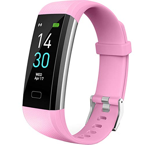 Vabogu Fitness Tracker HR, with Blood Pressure Heart Rate Monitor, Pedometer, Sleep Monitor, Calorie Counter, Vibrating Alarm, Clock IP68 Waterproof for Women Men (Pink).