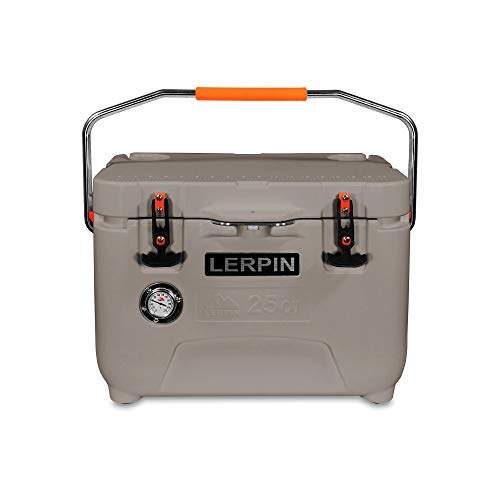 Lerpin Outdoor 25-Quart Roto-Molded Camp Cooler Ice Chest Box with Thermometer and Bottle Opener (Grey)