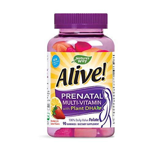 Nature's Way Alive! Prenatal Gummy Multivitamin with DHA, Full B Vitamin Complex, 90 Gummies