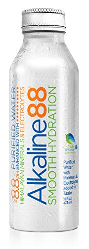 Alkaline88 Purified Ionized Water with Himalayan Minerals and Electrolytes. Balanced for your body with 8.8pH. Case of (24) 473mL (16.0 Fl Oz) Aluminum Water Bottles