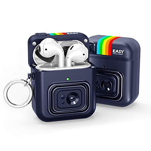 Nicwea Cute AirPods Case with Keychain for Girls/Kids Magnetic Cover Cartoon Camera Rugged Armor Designed Compatible with AirPods 1 & 2 / Airpods Pro Charging Case [Front LED Visible] - Blue