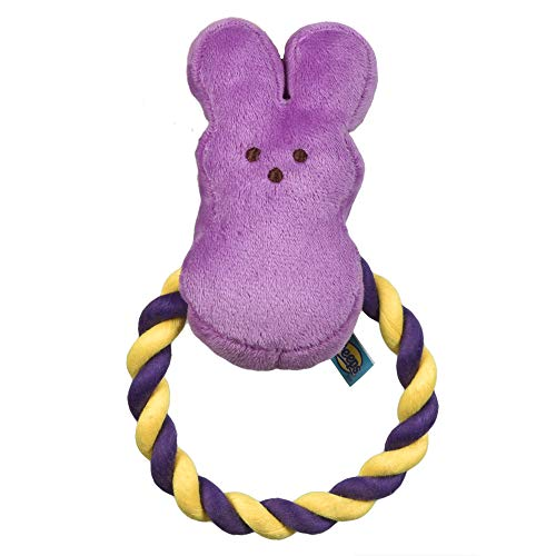 Peeps for Pets Bunny 6 Inch Purple Plush Rope Pull Toy for Dogs   Purple Dog Toy from Peeps, Plush Fabric Dog Toys   Small Squeaker Dog Toy with Rope (FF16025)