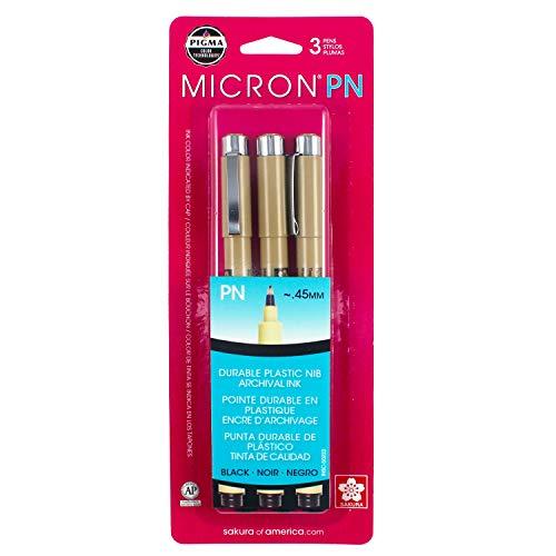 Sakura Black Pigma Micron PN Pens .45mm 3/Pkg, Original Version
