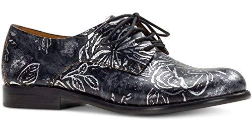 Patricia Nash Womens Silvio Leather Round Toe Oxfords, Black/Pewter, Size 7.0