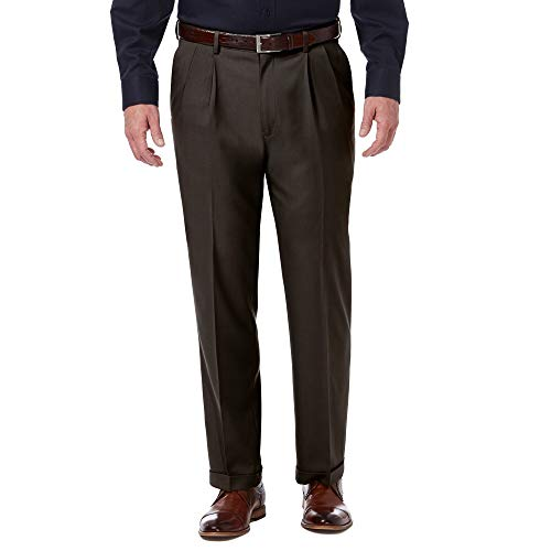 Haggar Men's Premium Comfort Classic Fit Pleat Expandable Waist Pant, Dark Chocolate, 34Wx30L