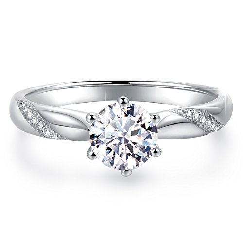 Stunning Flame Solitaire Engagement Ring Cubic Zirconia CZ in White Gold Plated Sterling Silver for Women | Excellent Cut, D Color, FL Clarity & Exquisite Polish | Size 10