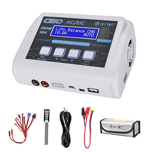 HTRC LiPo Charger RC Battery Balance Discharger 150W 10A 1-6S AC/DC C150 for NiCd Li-ion Life NiMH LiHV PB Smart Battery (White)