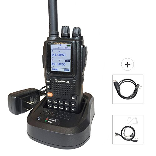 Wouxun KG-UV9D Plus Walkie Talkies Long Range Rechargeable Waterproof FRS GMRS Dual Band VHF UHF Amateur Radio with Earpiece + Programming Cable for Mobile/Hunting