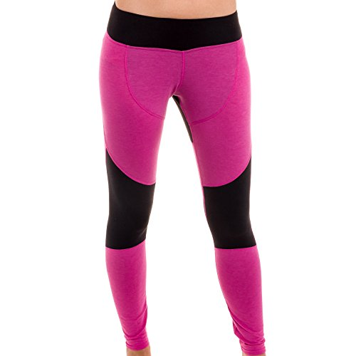 Hot Chillys Women's Wool Stretch Tights, Heather Razz/Black, Large