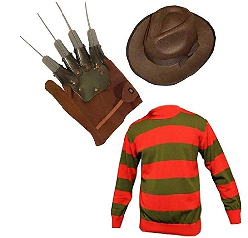 Unisex Kids Boys Freddy Halloween Fancy Dress Hat & Jumper Set (Age 7-8, Jumper & Hat)