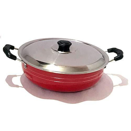 Non-Stick Kadai with Stainless Steel Lid Deep Fry Kadai Non-Stick Cookware Cooking Pan Stir Fry Pan Multipurpose Pan Aluminium Kadai Non Stick All Purpose Pan (2 Litres)