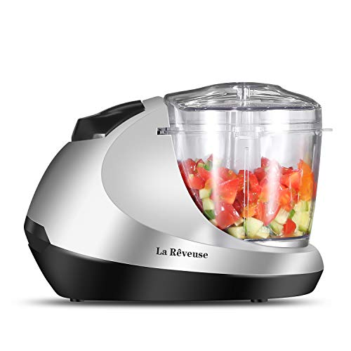 La Reveuse Electric Mini Food Chopper, Vegetable Fruit Cutter, Meat Grinder Mincer, Small Food Processor with 1.3-Cup Prep Bowl, Silver