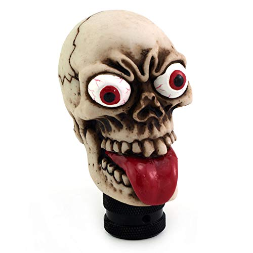 Thruifo Skull Gear Car Shift Knob, Funny Style MT Stick Shifter Head Fit Most Manual Automatic Vehicles