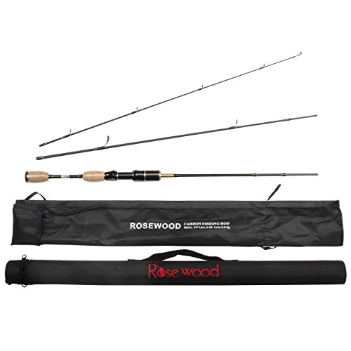 Rosewood 3 Pieces Fishing Rod 1.8m Travel Portable Ul Spinning Casting Rods Light Soft Fishing Pole with Hard PVC Tube (Spinning Rod)